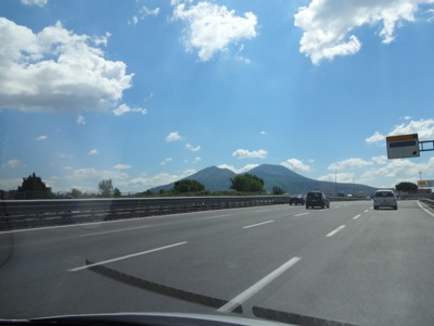 Amalfi coast road with Vesuvio